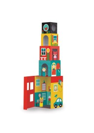 (Pre Order ) Petit Collage -Peek -A-Boo House Stacking Blocks Play Set