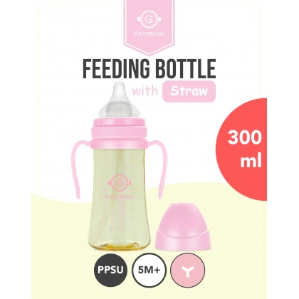 [PRE Order] Grosmimi PPSU Straw Feeding bottle 300ml  (FREE Replacement Straw Set )