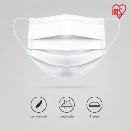 [Ready Stock] IRIS OHYAMA Disposable Adult / Kid Mask Earloop Type Anti Dust Bacterial Particle Virus 3 Ply - White (30 Pcs/Box)
